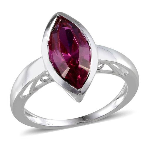 Crystal from Swarovski - Fuchsia Crystal (Mrq) Solitaire Ring in Sterling Silver 3.000 Ct.