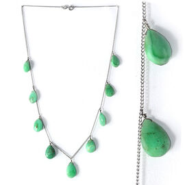 Chrysoprase (Pear) Necklace in Platinum Overlay Sterling Silver 35.630 Ct.