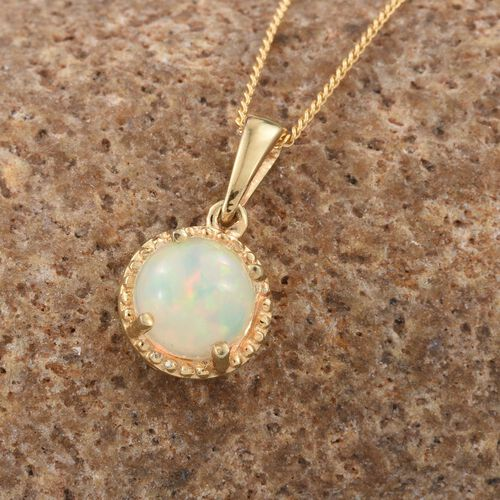 Ethiopian Welo Opal 1 Carat Silver Solitaire Pendant with Chain in Gold Overlay