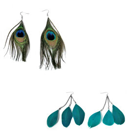 Feather Collection Set of 2 Pair Peacock Wings Earrings in Stainless Steel