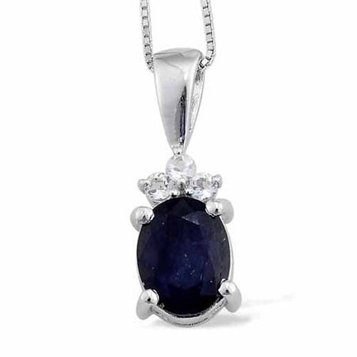 Kanchanaburi Blue Sapphire (2.50 Ct),White Topaz Platinum Overlay Sterling Silver Pendant With Chain  2.650  Ct.
