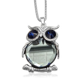 Creature Couture - Owl Pendant with Chain (Size 16 with 2 inch Extender) in Silver Tone with Austrian Crystal and Glass