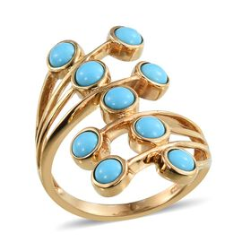 Arizona Sleeping Beauty Turquoise (Rnd) Crossover Ring in 14K Gold Overlay Sterling Silver 2.000 Ct.