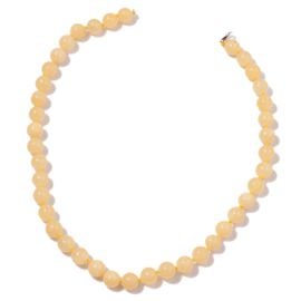 Natural  Rare Honey  Round Jade  Necklace (Size 18) in Rhodium Plated Sterling Silver 250.00 Ct. Size 9-10 mm.