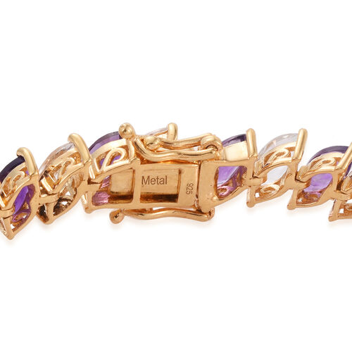 Amethyst (Mrq), White Topaz Tennis Bracelet (Size 7.25) in 14K Gold Overlay Sterling Silver 21.750 Ct.