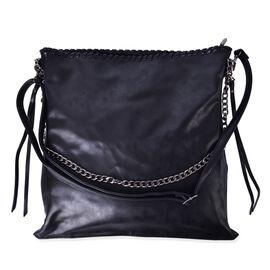 Black Colour Shoulder Bag with Adjustable and Removable Shoulder Strap (Size 38x37 Cm)