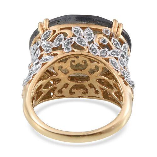 Labradorite (Ovl 19.00 Ct), White Topaz Ring in 14K Gold Overlay Sterling Silver 19.250 Ct.