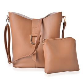 Set of 2 - Beige Colour Large Crossbody Bag (Size 29x27x10 Cm) and Small Crossbody Bag (Size 21x20x3.5 Cm) with Adjustable and Removable Shoulder Strap