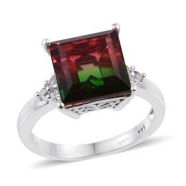 Bi-Color Tourmaline Quartz (Sqr 7.50 Ct), White Topaz Ring in Platinum Overlay Sterling Silver 7.750 Ct.