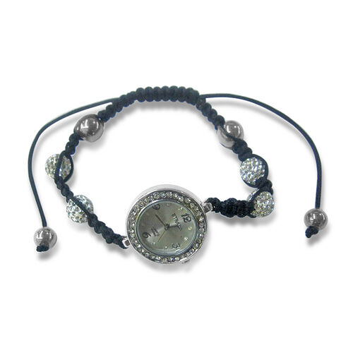STRADA Japanese Movement White Austrian Crystal, Hematite Shamballa Friendship Bracelet Watch (Adjustable)