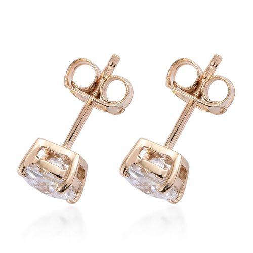 Checkerboard Cut 9K Y Gold (Cush) Stud Earrings Made with SWAROVSKI ZIRCONIA