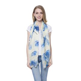 One Time Deal - Blue and Light Yellow Colour Floral Pattern Scarf (Size 170 x70 Cm)