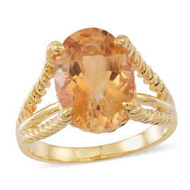 Citrine (Ovl) Solitaire Ring in 14K Gold Overlay Sterling Silver 5.000 Ct.
