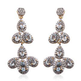 Espirito Santo Aquamarine (Pear), Diamond Earrings in 14K Gold Overlay Sterling Silver 2.780 Ct.
