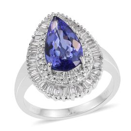ILIANA 18K White Gold 3.25 Carat AAA Pear Tanzanite Engagement Ring With Diamond SI G-H