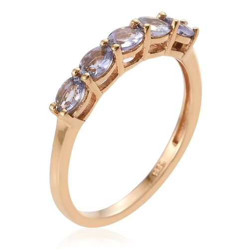 Bondi Blue Tanzanite (Ovl) 5 Stone Ring in 14K Gold Overlay Sterling Silver 0.750 Ct.