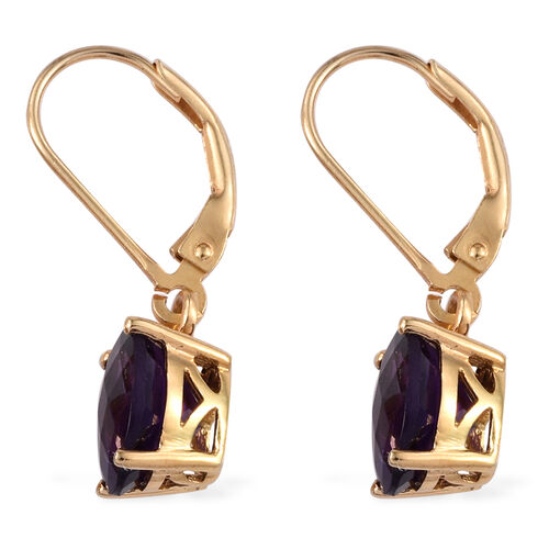 Checkerboard Cut AA Lusaka Amethyst (Ovl) Lever Back Earrings in 14K Gold Overlay Sterling Silver 3.000 Ct.