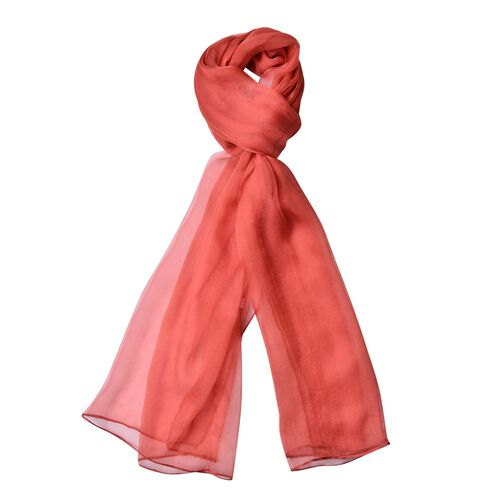 Pantone Collection - 100% Mulberry Silk Flame Red Colour Scarf (Size 170x70Cm)