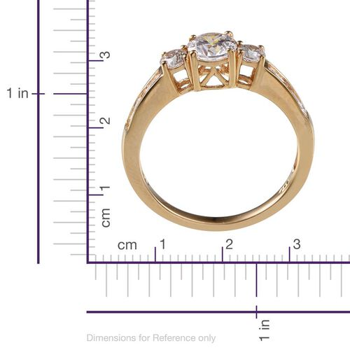 J Francis - 14K Gold Overlay Sterling Silver (Rnd) Ring Made with SWAROVSKI ZIRCONIA 1.620 Ct.