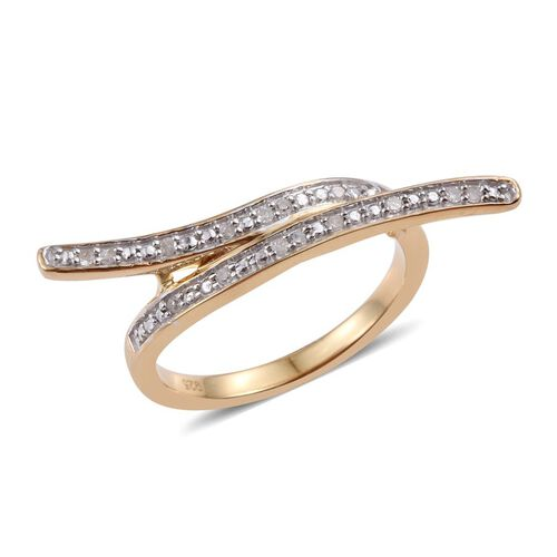 Diamond (Rnd) Crossover Ring in 14K Gold Overlay Sterling Silver 0.100 Ct.