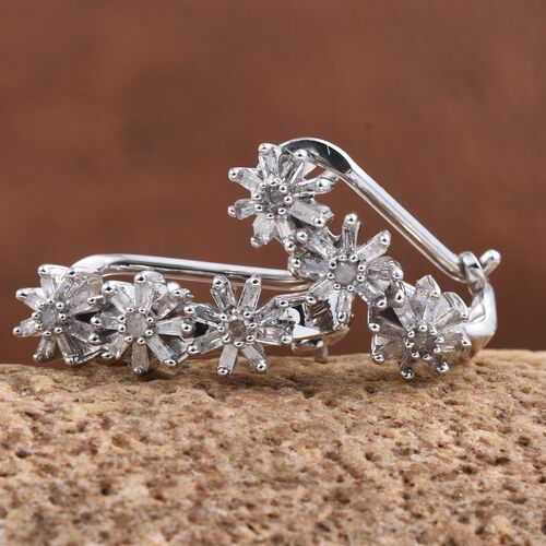 Diamond (Rnd) Earrings (with French Clip) in Platinum Overlay Sterling Silver 0.500 Ct.