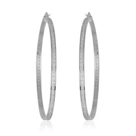 Close Out Deal AAA Simulated Diamond (Sqr) Hoop Earrings in Rhodium Plated Sterling Silver 6.400 Ct.