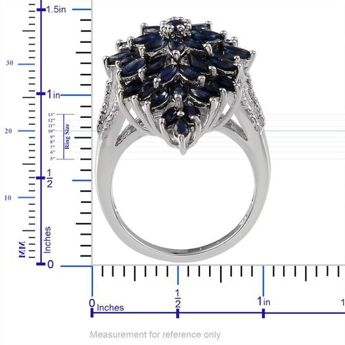 Kanchanaburi Blue Sapphire (Mrq), Diamond Cluster Ring in Platinum Overlay Sterling Silver 4.810 Ct.