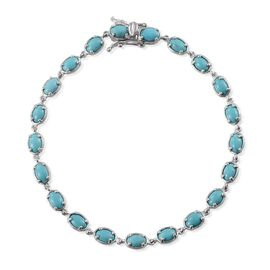 Arizona Sleeping Beauty Turquoise (Ovl) Bracelet in Platinum Overlay Sterling Silver (Size 8) 6.250 Ct.