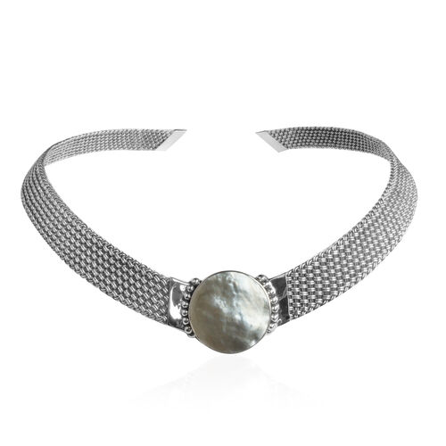 Limited Edition - Royal Bali Collection Mother of Pearl (Rnd) Choker Necklace (Size 18) in Sterling Silver Weight 56 Grms.