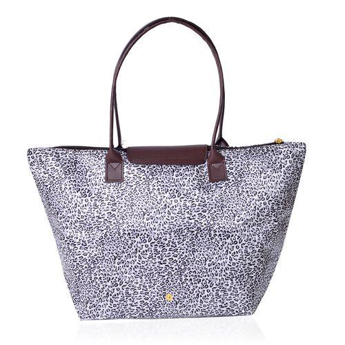Set of 2 - Black and White Colour Leopard Pattern Large Handbag (Size 45x28x27.5x17 Cm) and Small Handbag (Size 32x21x20x12.5 Cm)