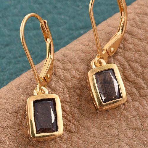 Natural Zawadi Golden Sheen Sapphire (Cush) Lever Back Earrings in 14K Gold Overlay Sterling Silver 2.250 Ct.