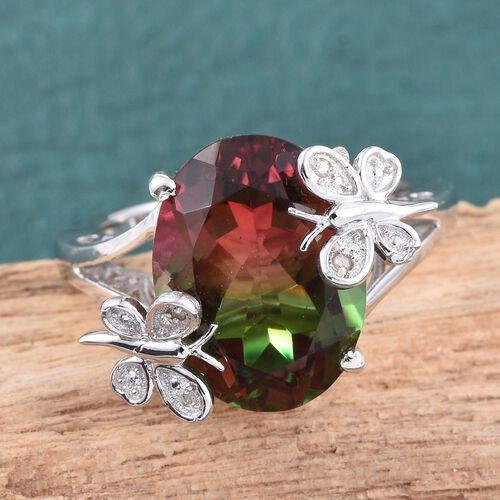 Bi-Color Tourmaline Quartz (Ovl), Diamond Ring in Platinum Overlay Sterling Silver 10.270 Ct.