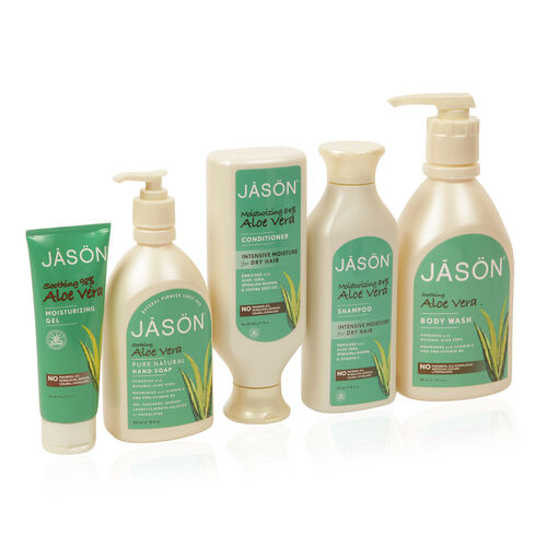 Jason Aloe Vera- Body Wash 887ml, Everday Shampoo 473ml, Conditioner 454g, Liquid Soap 473ml, Moisturising Gel 113g