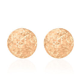 Vicenza Collection 9K Rose Gold Diamond Cut Ball Stud Earrings (with Push Back)
