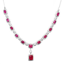 African Ruby (Cush 5.00 Ct), White Topaz Necklace (Size 18) in Sterling Silver 20.720 Ct.