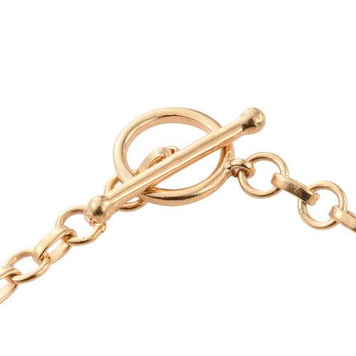 J Francis - 14K Gold Overlay Sterling Silver (Ovl) Bracelet (Size 7.5) Made with SWAROVSKI ZIRCONIA