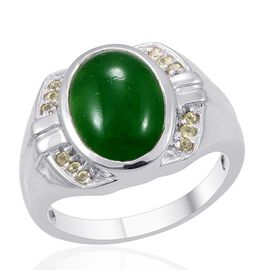 Designer Collection Enhanced Green Jade (Ovl 12.00 Ct), Hebei Peridot Ring in Platinum Overlay Sterling Silver 12.240 Ct.