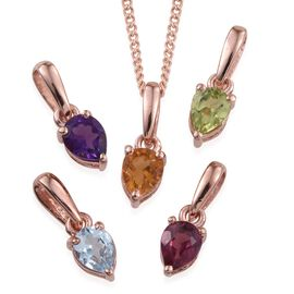 Set of 5- Citrine (Pear), Amethyst, Hebei Peridot, Rhodolite Garnet and Sky Blue Topaz Solitaire Pendant With 1 Chain in Rose Gold Overlay Sterling Silver 1.750 Ct.