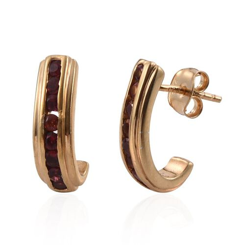 Mahenge Spinel (Rnd) J Hoop Earrings (with Push Back) in 14K Gold Overlay Sterling Silver