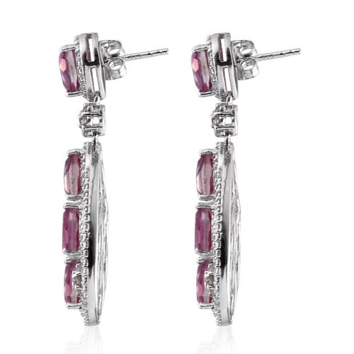 Kunzite Colour Quartz (Pear), White Topaz Earrings (with Push Back) in Platinum Overlay Sterling Silver 10.000 Ct.