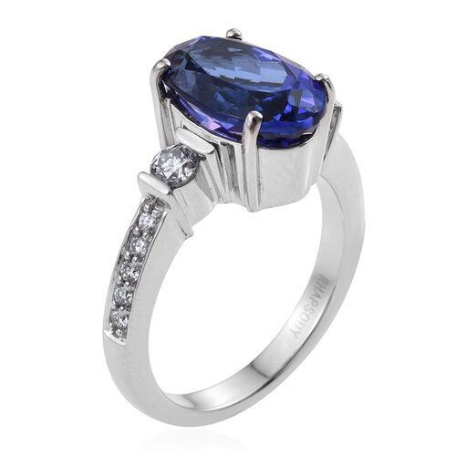 RHAPSODY 950 Platinum 5.50 Carat AAAA Tanzanite Oval, Diamond VS E-F Ring.