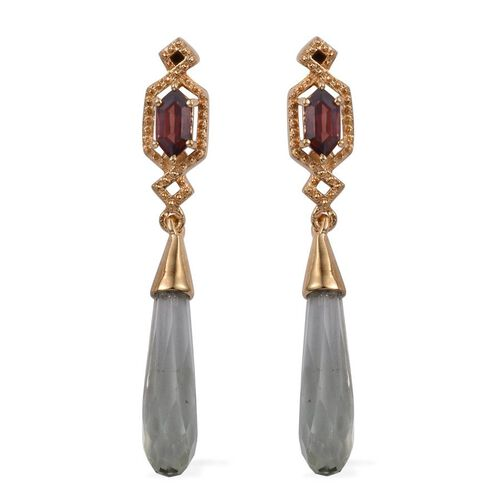 Stefy Green Amethyst, Mozambique Garnet and Pink Sapphire Earrings (with Push Back) in 14K Gold Overlay Sterling Silver 14.800 Ct.