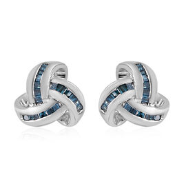 Auction of The Month - Blue Diamond (Bgt) Triple Knot Stud Earrings (with Push Back) in Platinum Overlay Sterling Silver 0.250 Ct.