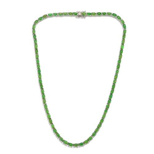 Green Ethiopian Opal (Ovl) Necklace (Size 18) in Platinum Overlay Sterling Silver 30.500 Ct.