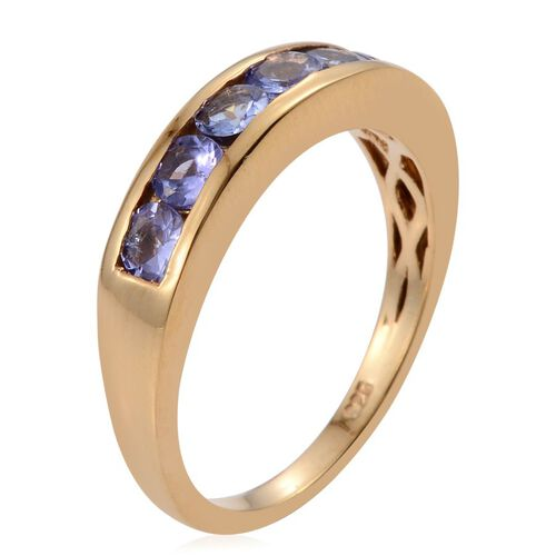 Tanzanite (Rnd) 7 Stone Half Eternity Band Ring in 14K Gold Overlay Sterling Silver 1.000 Ct.