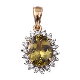 ILIANA 18K Y Gold Natural Yellow Tanzanite (Ovl 3.00 Ct), Diamond Pendant 3.500 Ct.