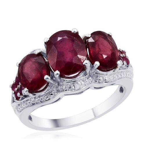 Designer Collection Fissure Filled Ruby (Ovl 2.50 Ct), Ruby and Diamond Ring in Platinum Overlay Sterling Silver 6.825 Ct.