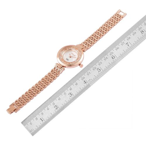 STRADA Japanese Movement MOP Dial with White Austrian Crystal Water Resistant Watch in Rose Gold Tone with Stainless Steel Back and Chain Strap
