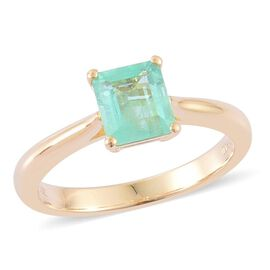 14K Y Gold Boyaca Colombian Emerald (Oct) Solitaire Ring 1.000 Ct.
