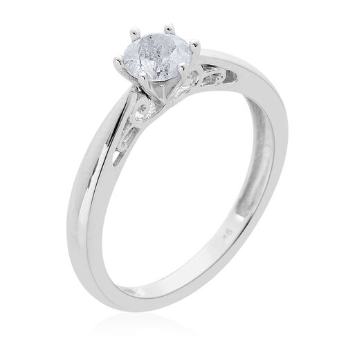 9K W Gold SGL Certified Diamond (Rnd) (I3/ G-H) Solitaire Ring 0.500 Ct.